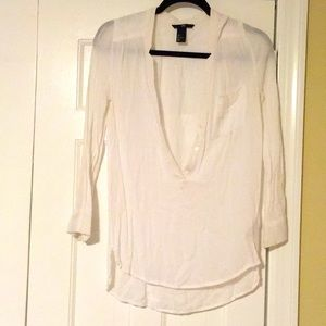 White button down neck line blouse